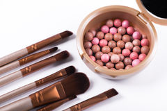 Powder balls and cosmetic brush isolated. On white background. makeup product Stock Photography