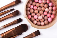 Powder balls and cosmetic brush isolated. On white background. makeup product Royalty Free Stock Image