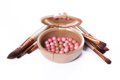 Powder balls and cosmetic brush. On white background. makeup product Stock Image