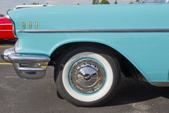 Powder Blue & White 1957 Chevy Bel Air Side View Stock Photography