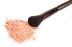 Powder blush and black makeup brush. On white background Royalty Free Stock Image