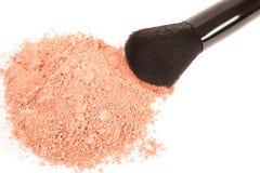 Powder blush and black makeup brush. On white background Stock Photos