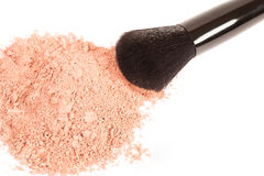 Powder blush and black makeup brush. On white background Stock Photo