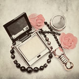 Powder-box- picture in retro style Stock Images