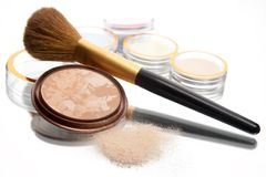 Powder and brush 2. Powder and brush on the white background with reflections stock image