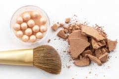 Powder and brush Royalty Free Stock Photos