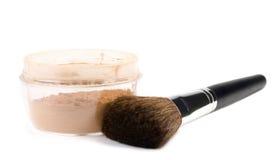 Powder and brush. Isolaned over white background Royalty Free Stock Images