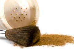 Powder and brush. Isolated over white Royalty Free Stock Image