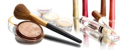 Powder, brush and gloss Royalty Free Stock Photography
