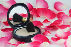 Powder and brush and rose petals Stock Photo