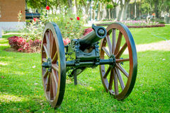 Powder Cannon from Chile-Peru war. Lima, reducto Park with antique powder Cannon from Chile-Peru war Stock Photos