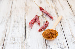 Powder chili in wooden spoon Royalty Free Stock Photo