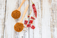 Powder chili in wooden spoon Royalty Free Stock Photos