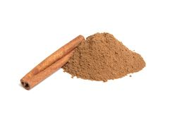 Powder of cinnamon on white background. Stock Images