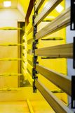 Powder coating line. Camera painting products in an electrostatic field.  royalty free stock photography