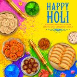 Powder color gulal for Happy Holi Background Stock Image