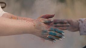Powder Colored Paint. Appliques with powder colored paint stock footage