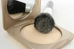 Powder Compact and Brush Royalty Free Stock Photography