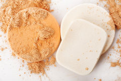 Powder and cosmetic sponges Royalty Free Stock Photo