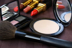 Powder cosmetics and brush Royalty Free Stock Photo
