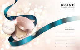 Powder cushion ads. Golden pink product with blue ribbon isolated on sparkling bokeh background, 3d illustration stock illustration