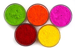 Powder of different colors for holi festival. Holi color powder in bowl stock photo