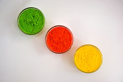 Powder of different colors for holi festival. Holi color powder in bowl stock photography