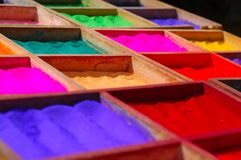 Powder Dyes. Being sold in the streets of Kathmandu, Nepal Royalty Free Stock Photo