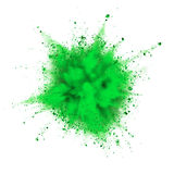 Powder explosion. Green powder explosion isolated on white background royalty free stock photo