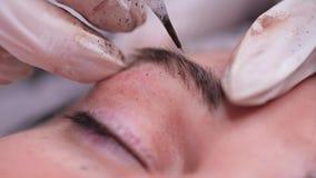 Powder eyebrow spraying. Close-up of pigment application on the eyebrow. 4K Slow Mo. Powder eyebrow spraying. Close-up of pigment application on the eyebrow stock video
