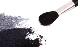 Powder eyeshadow makeup and brush Royalty Free Stock Images