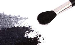 Powder eyeshadow makeup and brush Royalty Free Stock Images