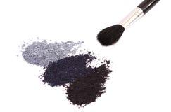 Powder eyeshadow makeup and brush Stock Photos