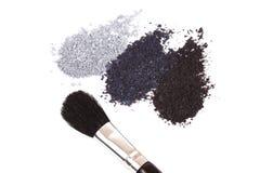 Powder eyeshadow makeup and brush Royalty Free Stock Photos