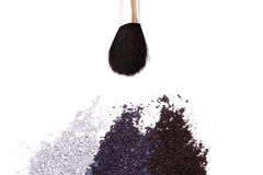 Powder eyeshadow makeup and brush Stock Images
