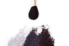 Powder eyeshadow makeup and brush Stock Images