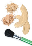 Powder and foundation makeup with brush. Cosmetic foundation cream and powder with brush on white background Royalty Free Stock Photos