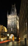 Powder Gate in night. Night Scene Powder Gate in Prague Royalty Free Stock Photos