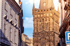 Powder Gate or Powder Tower along Celetna street. Prague, Czech Royalty Free Stock Photography