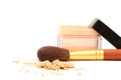 Powder, a jar with foundation and brush Stock Image