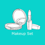 Powder and lipstick Royalty Free Stock Images
