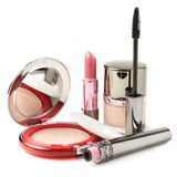 Powder, lipstick, mascara, face cream Royalty Free Stock Image