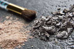 Powder makeup and brush Royalty Free Stock Photo