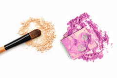 Powder makeup eyeshadow and face powder - make-up for fashion and beauty magazines stock photography