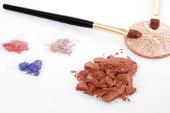 Powder for makeup and two brush Royalty Free Stock Photo
