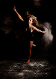 Powder modern dancer jump Royalty Free Stock Images