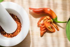 Powder paprika. Kitchen,powder paprika and fresh paprika Royalty Free Stock Photo