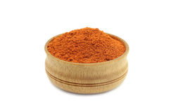 Powder of a red paprika in a wooden bowl o Royalty Free Stock Images