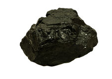 Powder River Coal. A large piece of coal from the Powder River Basin coal mines located in Wyoming and Montana isolated on a white background royalty free stock photo