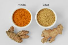 Powder and roots of turmeric and ginger Royalty Free Stock Photography